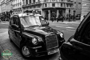 Black cab parked in London